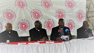 (From Left) Rt. Rev. Cornelius Korir of Eldoret Diocese,  Rt. Rev. Philip Anyolo of Homabay & KCCB Chairman,  Rt. Rev. John Oballa  Owaa of Ngong & KCCB Vice Chairman  and Most Rev. Zacchaeus Okoth of Kisumu  during the Bishops Press Conference in Nairobi