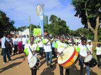 A band leads pilgrims during 2016 'Walk of Faith' pilgrimage