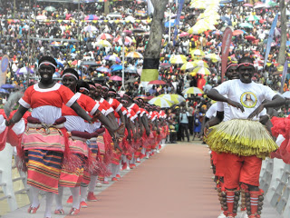 Traditional dancers entertain pilgrims after the celebration
