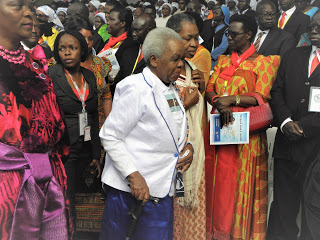 The former First Lady of Tanzania, Mama Maria Magige Nyerere, wife of the late President Julius Nyerere arrives for the 2017 Uganda Martyrs day celebration