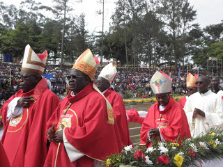 Most Rev. Emmanuel Obbo, the Archbishop of Tororo (front right) in a procession with other bishops during the 2017 Uganda Martyrs Day celebration.