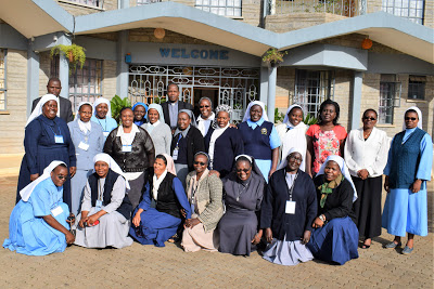 Members of ACWECA Leadership team together with facilitators  and ACWECA Staff in a group photo after their Strategic Planning  workshop at Donum Dei in Karen, Nairobi - Kenya