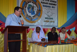 H. E. João Cardinal Bráz de Aviz, Prefect of the Congregation for Consecrated Life and Societies of Apostolic Life, (CICLSAL) Delivering his key note address at ACWECA 17th Plenary Assembly in Dar-es-Salaam Tanzania