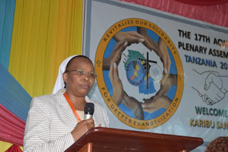 Sr. Jane Wakahiu, LSOSF, PhD., Giving a talk on Sustainable Development Goals (SDGs) at the ACWECA 17th Plenary Assembly in Dar-es-Salaam Tanzania