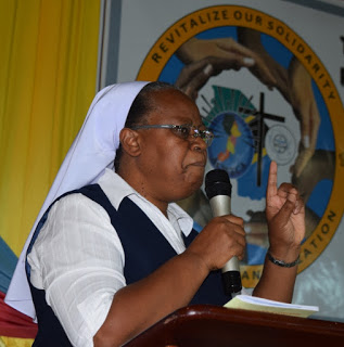 Sr. Romina Nyemera, OLGC Facilitator of the development of the Theological/Formation Center for the Association of Religious in Uganda (ARU) giving a her presentation on the Call for Solidarity for deeper evangelization at ACWECA 17th Plenary Assembly