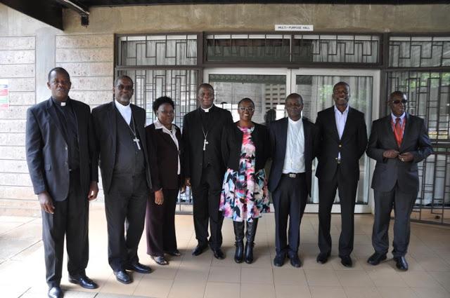 A section of CUEA Council Members (From Left) Rev. Fr. Ferdinand Lugonzo, Secretary General of AMECEA, Rt. Rev. Abraham Desta, Bishop of Meki, Prof  Apollinaria Elikana Pereka (Tanzania), Rt. Rev. Maurice Makumba, Council Chairman and Bishop of Nakuru Kenya,  Mrs. Bibiyana Bulaya-Kearns (Zambia), Rt. Rev. Bernadin Mfumbusa, Bishop of Kondoa Tanzania, Mr. Peter Ndaa (Kenya) and Prof. Justus Mbae (Vice Chancellor/Secretary to the Council) Picture By Pamela Adinda, AMECEA Online News