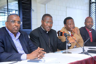 Interreligious Committee Chairman Rt Rev Alfred Rotich, with other Committee members during the Media address  at Intercontinental Hotel, Nairobi, on November 29, 2017.