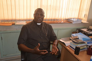 The incoming PMS National Director Rev. Fr. Boniventure Luchidio during an interview in his new office at KCCB